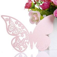 50 Butterfly Table Mark Wine Glass Name Place Card For Wedding Party Bar Decor