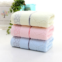 Blue/Yellow/Pink Cotton Jacquard Weave Face Towel Bath Hand Beach Absorbent Drying Cloth(China)