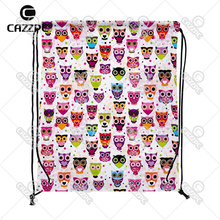 Pink Little Colorful Cute Owls animal Pattern Print Custom individual Nylon Fabric Drawstring Shoes Storage Dust Bag Pack of 4