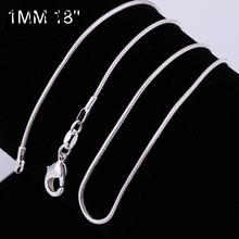 1PC free shipping silver Chain Necklace With Big Discount,Popular Flat Curb Chains Jewelry With