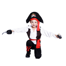 Free shipping Pirates of the Caribbean Halloween costume for children Pirate Captain Cosplay domineering boy pirate costume(China)