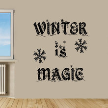 Winter is Magic With Pretty Snowflakes Wall Decal Home Christmas Nursery Bedroom Holiday Decor Special Christmas Gift Mural W-64