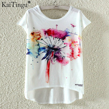 KaiTingu Fashion Summer Kawaii Cute T Shirt Harajuku High Low Style Cat Print T-shirt Short Sleeve T Shirt Women Tops Plus Size