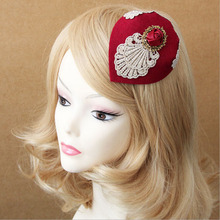 Vintage British Style Wine Red Small Top Hat Vintage Headwear Hairpins Girl Friend Hair Accessories