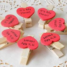 50Pcs/bag Love Heart shaped Wood Paper Photo Clip Photo DIY Wall Art Picture Hanging Album Clip Wedding Decoration Clip(China)