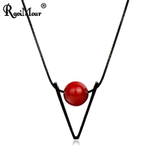RAVIMOUR Fashion Women's Long Necklace Steampunk Red Ball Triangle Maxi Necklaces & Pendants Collares Jewelry 2017(China)