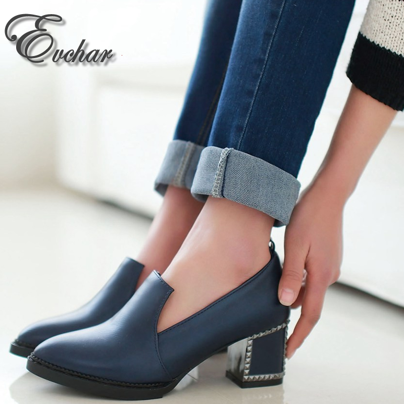 Ladies Shoes Fashion Women Pumps Spring autumn pointed Toe  Slip On  Shoes Woman  Med Heel Pumps black red bule big size 33-48<br><br>Aliexpress
