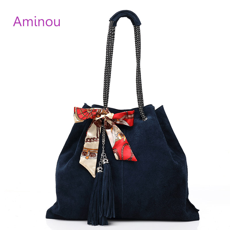 Aminou 2017 Famous Women Tote Bag Lady Casual 100% Genuine Leather Bags For Women Crossbody Tassel Bucket Handbag Shoulder Bags<br><br>Aliexpress