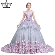 Pink Flower Ball Gown Wedding Dress Bridal Dress Robe De Mariage Mariee Princesa Wedding Dresses  Wedding Gown 2017 Real Photo