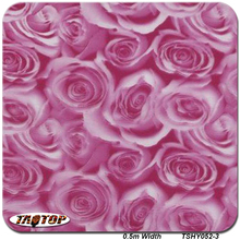 TAOTOP 5Sq TSY052-3 0.5M*10M Pink Red Blue Rose Flower Pattern Water Transfer Printing Film Hydrographic Films