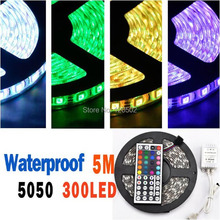 DC 12V 30W 5050 60 LED 5M Waterproof RGB Strip Light + 44 Key IR Controller+ RGB Control Box