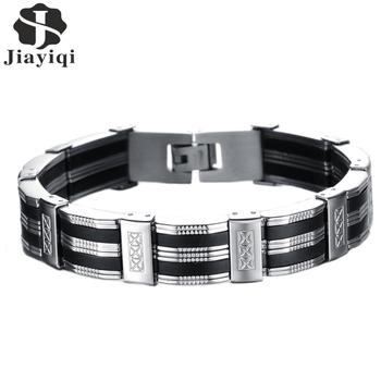 Jiayiqi New Punk Stainless Steel Bracelets & Bangles Silicone Bracelet Men Jewelry Silver Color Friendship Male Accessories 2017
