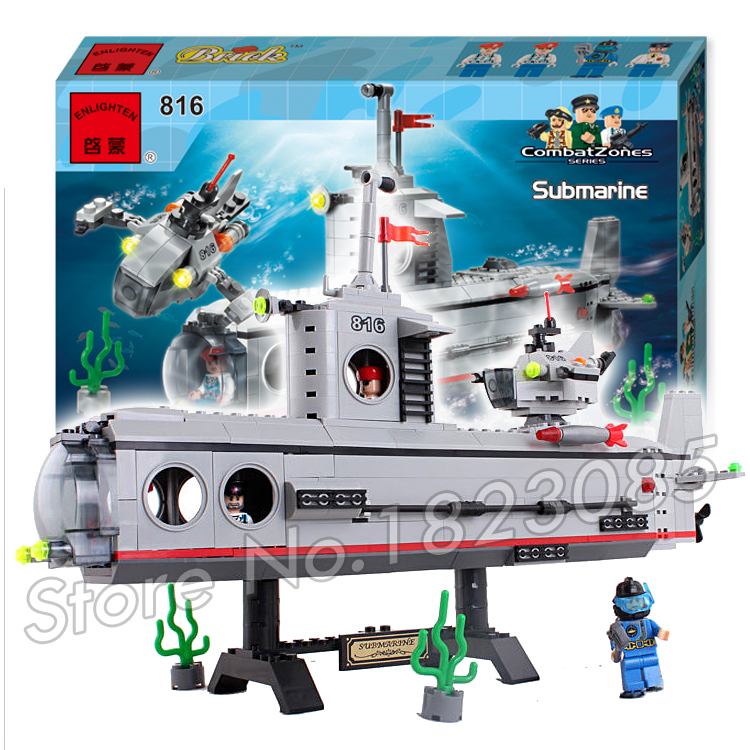 382pcs 2016 new Hot New CombatZones Submarine large model Christmas Gift Building Blocks toys Compatible With Lego<br>