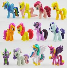 12 PCS/SET 3-5cm my Cute little PVC Lovely Horse Poni Birthday Party Tool Action Toy figurine Dolls for Girl Christmas Gift