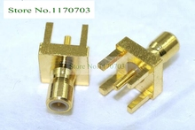 100 pcs  SMB Jack with Male Center Pin in RF Connector PCB Mount with Post Terminal 4 Stud