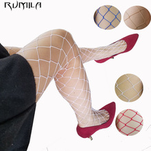 White red blue women high waist stocking fishnet club tights panty knitting net pantyhose trouser mesh lingerie TT016 1pcs