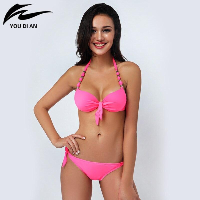 2017 New Ladies Halter Woman Swimwear Sexy Top Push Up Bikini Set Female Summer Style Bathing Suit Brazilian Swimsuit<br><br>Aliexpress