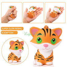 10CM Jumbo Kawaii Squishy Tiger Squeeze Bread Super Slow Rising Animal Phone Straps Soft Scented Cake Toys Doll Gift Wholesales(China)