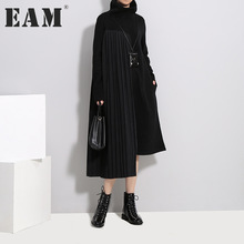Buy EAM 2018 new spring high collar long sleeve solid color black pleated split joint irregular loose dress women fashion tide for $24.90 in AliExpress store
