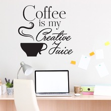 Motivational Wall Decal Quotes Coffee Is My Creative Juice Interior Cafe Shop Wall Stickers Home Decor Kitchen Art Mural SYY979