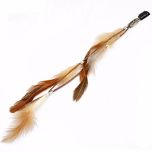Bohemian Fashion Handmade Ethnic Tribal Leather Feather Hairband Hair Hairpin Hair Clip(China)