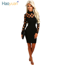 Buy HAOYUAN New Arrival 2017 New Autumn Bandage Women Dress Hollow Party Night Club Sexy Dress Long Sleeve Bodycon Vestidos Robe for $9.59 in AliExpress store