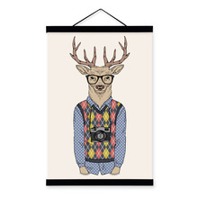 Travel Deer Modern Fashion Gentleman Animal Portrait Camera Hipster A4 Framed Canvas Painting Wall Art Print Picture Poster Deco(China)