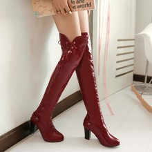 Over the knee boots women's fashion hollow high-heeled fashion boots large size shoes ladies boots black white red blue