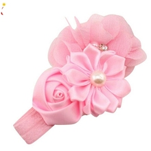 Hot 2017 Hair Accessories Child Girl Headbands Elastic Chiffon Flower Hair Band Phtography Props Drop Shipping Feb24(China)