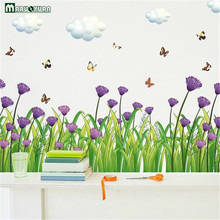 YunXi Purple Chrysanthemum Butterfly Straight Only Skirt Wall Stickers Kitchen & Bath Pvc Waterproof Wall Stickers 120*55CM(China)