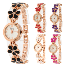 New Rose Gold Wacth Diamond with English Letter Watches Ladies Dress Clock Women Flower Watch saat reloj mujer fleur montre(China)