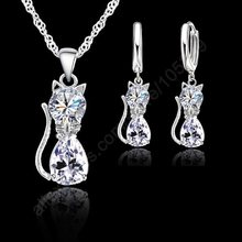 Jewellery Sets Accessories Genuine 925 Sterling Silver Cubic Zirconia Cat Kitty Necklace Pendant+Leverback Earrings Hot(China)