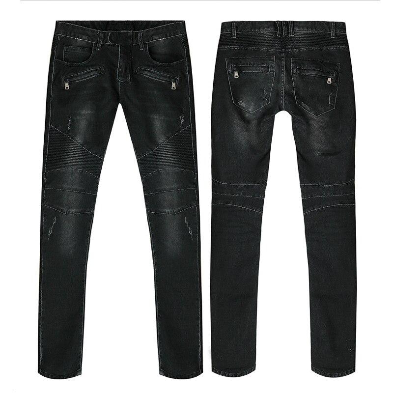 New arrival Famous designer Mens Fashion Black Skinny Pleated Biker Jeans Vintage Ripped Jeans Straight Slim Fit Size 28-36 M330Îäåæäà è àêñåññóàðû<br><br>