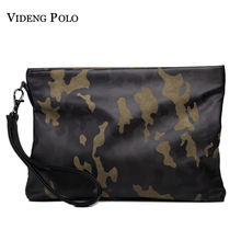 VIDENG POLO Brand Leather Camouflage Wallets Clutch Hand Bag Zipper Long Wallet Casual Male Purse Large Capacity Waterproof Bag(China)
