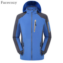 Facecozy Men's Spring Autumn Outdoor Quick Dry Camping Softshell Jacket Front Zipper Patchwork Hooded Thin Fishing Coat