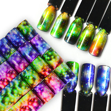 16pcs Gradient Colorful Rain Flower Nail Art Transfer Sticker Decals Starry Sky Nail Foils 20x4cm DIY Nail Tips Decoration BE448