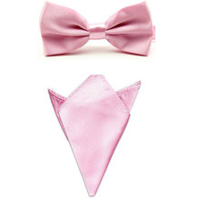 Gentleman Pink Men's Solid Color Formal business Bowtie Self Bow Tie Handkerchief Set Wedding Accessories JBtr0018a04