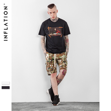 INFLATION 2017 Latest t shirts Gothic Font & Painting Printed Tees Hip Hop Street Wear Mens Black T shirts