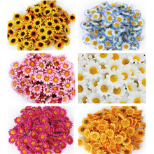 100pcs Handmade Artificial Sunflower DIY Wreath Mini Flower Head For Wedding Decoration Fake Flower