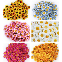 100pcs Handmade Artificial Sunflower DIY Wreath Mini Flower Head For Wedding Decoration Fake Flower(China)