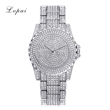 Lvpai Top Brand Silver Luxury Women Dress Watch Rhinestone Ceramic Crystal Quartz Watches Magic Women Wrist Watch Female LP033(China)
