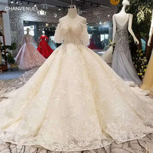 LS11031 sweetheart wedding dresses champagne short puffy sleeves ball gown  sequins flowers hot selling wedding gown long train ed045524448f