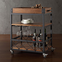 YONTREE Mini Bar Serving Cart Hotel Outdoor Patio Dining Car with Wheels Mobile Wine Glasses Holder Stock in US