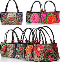 Ethnic Embroidery Cloth Bags Double Side Peony Coins Embroidered Shoulder Bag Women's Small Handbags Travel Bags