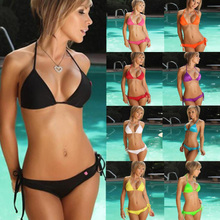 2018 New Swimwear women bikini 10 Color Set Push-up Bandeau Bra Bandage Swimsuit Bathing Suit Swimwear maillot de bain femme(China)