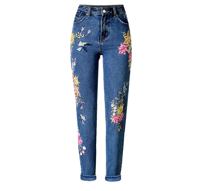 Women\'s three-dimensional 3D heavy process bird flower front and rear embroidery high waist Slim straight jeans large size system (9)