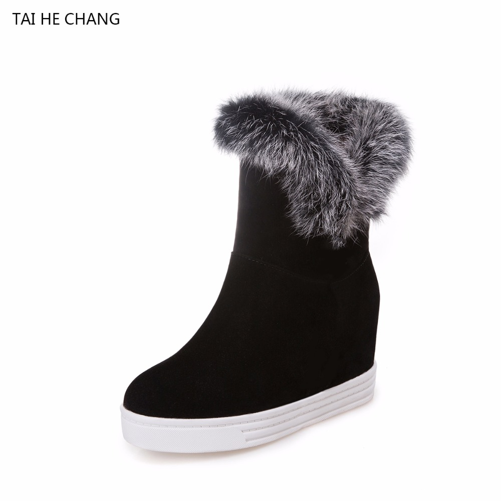 Tai He Chang New Height Increasing Shoes Woman Cow Suede Ankle Slip-On Snow Boots Round Toe Winter Short Plush Solid Women Shoes<br>