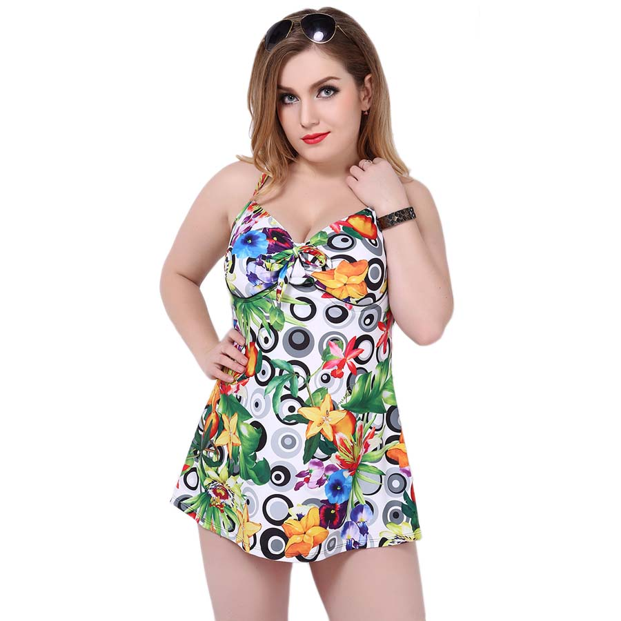 one piece swimwear women Plus Size 2017 printed swimsuit Large Size Vintage Retro High Waist Bathing Suit Swim Dress 4XL 155<br>