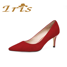IRIS Red Suede Women Pumps Small Size Pointed Toe High Heels Wedding Shoes Woman Ladies Party Office Shoes Genuine Leather