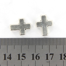 10 PCS Antique Silver Alloy Cross Beads Necklace Making DIY Craft 15 x 11mm